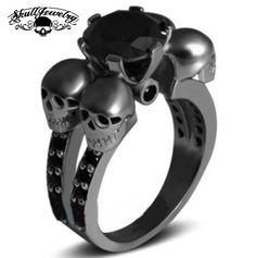 'Rotonde Teschi Neri' Four Skulls 10KT Black Gold Filled Black Sapphire Wedding/Engagement Ring
