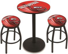 Western Kentucky Hilltoppers D2 Black Pub Table Set.  Available in two table widths. Visit SportsFansPlus.com for Details.