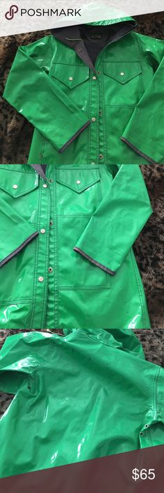 Vintage slicker Adorable and practical! Kelly green outer with navy blue inner and stitching. This is a vintage piece from the 70s, so it definitely shows wear. Some marks on the exterior and interior but no holes or anything so far as I can tell. Lot One Jackets & Coats