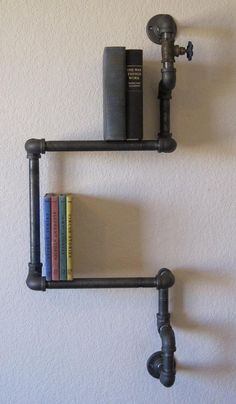 Industrial Plumbing Pipe Shelf All Metal by vintagepipedreams