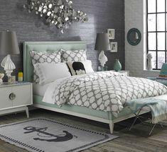 Modern romantic bedroom. Mint bed by Jonathan Adler.