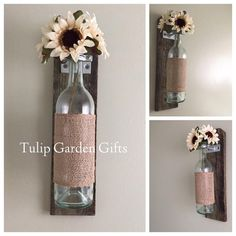 Wine Bottle Wall Vase on Natural Aged Reclaimed Wood with Optional Burlap and Flower Accents