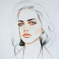 """Art Inspiration: Female portrait, illustration """"Sucédeme"""" by Habiba Green. Portrait Au Crayon, Portrait Art, Female Portrait, Art And Illustration, Illustrations, Portrait Illustration, Watercolor Portraits, Watercolor Art, Art Sketches"""