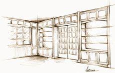 Secretaire - Libreria con porta apribile nascosta