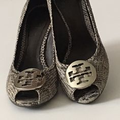 Tory Burch Snake Skin Pre-owned Wedge Peep Toe good condition. Showing some wear on snake skin at the toe. Very minimal, Tory Burch Shoes Wedges