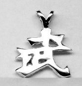 Warrior Kanji Pendant Sterling Silver Free Domestic by oldtrekkie, $59.99