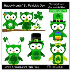cute Irish Owls clip art digital clipart birds, shamrock, green - Happy Hootin' St. Patrick's Day  I love this pic, thanks!  Have a look at these FREE St. Patrick's Clip Arts .  http://www.tpt-fonts4teachers.blogspot.com/2013/02/st-patricks-day-free-clip-art-images.html