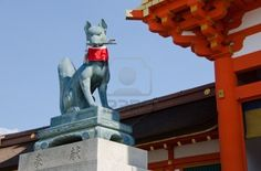 "fox ""kitsune"" sculpture at Fushima Inari Shrine, Kyoto, Japan"