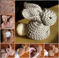Knitted Bunny from a single square. Free Pattern!