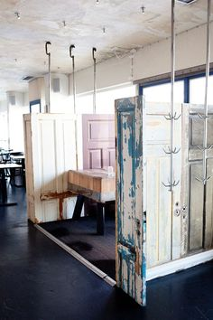 a room created with vintage doors