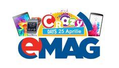 """La eMAG urmeaza saptamana Crazy Days, o noua campanie de reduceri cu """"preturi razna"""". Vor fi 7 zile de reduceri, in perioada 25 aprilie - 1 mai 2017, si probabil vor incepe dimineata pe la 7:00."""
