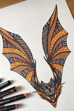 Bat Drawing by Andreas Preis // Animal Poker // www.designerpreis.com