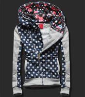 BLUZA GROCHY KWIATY D105 GRANAT/JASNY SZARY Granatowy/Jasny szary | Odzież damska \ Bluzy | odzież damska - netmoda.pl wykreuj swój styl