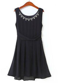 Love Love Love! Elegant Black  Chiffon Party Dress! Love the Beaded Neckline! #LBD #Party_Dress #Beaded #Holiday #Fashion