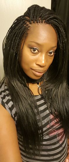 Micro braids with pre-stretched synthetic hair Micro Braids Hairstyles, Natural Braided Hairstyles, Braided Hairstyles For Black Women, Twist Hairstyles, African Hairstyles, Micro Braids Styles, Hair Twist Styles, Braid Styles, Curly Crochet Hair Styles