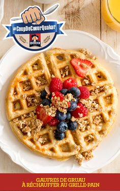 """Good recipes are the key to a happy family. If you are looking for good recipes """" Quaker® Oatmeal Toaster Waffles """", here is the right place. Waffle Recipes, Oatmeal Recipes, Easy Dinners For Kids, Quaker Instant Oatmeal, Frozen Waffles, Tasty, Yummy Food, Delicious Recipes, Popular Recipes"""