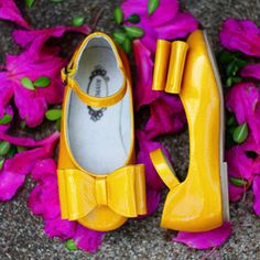 One Good Thread - Loralie Yellow Patten Shoes by Joyfolie, $60.00 (http://www.onegoodthread.com/loralie-yellow-patten-shoes-by-joyfolie/)