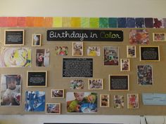 Birthdays in Color: This is an example of how a group of teachers displayed photos, samples of work, and brief descriptions surrounding a year-long research project with children. This style is more formal (developed after all experiences had taken place) rather than raw (developed on an ongoing basis as experiences are taking place) and speaks to both children and adults as the audience.
