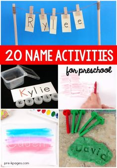 Name Activities for Preschool. 20 fun, hands-on activities for teaching and learning the letters in names. Perfect for your preschool, pre-k, or kindergarten kids! Name Activities Preschool, Name Writing Activities, Morning Activities, Kids Learning Activities, Preschool Activities, Teaching Kids, Teach Preschool, Kids Writing, Kids Reading