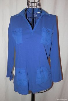 CHICO'S TOP 1 M Medium Royal Blue Solid Knit Pockets 3/4 Sleeve V-neck #Chicos #KnitTop #Casual