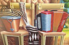 -Típico: taburetes,sombrero,mochila,caja y acordeón. - Técnica :Acrílico sobre lienzo. -Tamaño:90 x 140 cm (incluye marco decorativo) -Valor: $1,200.000 - Contacto: 300 806 26 75 Decoupage, Art, Decorative Frames, Canvases, Paintings, Colombian Culture, Art Background, Kunst, Performing Arts