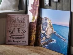 Picturesque printed canvases can give a calm, relaxed feeling to any interior. Love Canvas, Canvas Prints, Holidays In Cornwall, Kitchen Inspiration, Love Is All, Canvases, Get The Look, Pattern Fashion, Happy Holidays