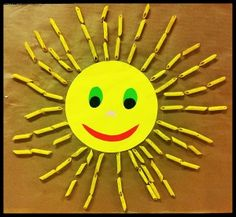 słońce z makaronu Sun Crafts, Diy Crafts For Kids, Projects To Try, Activities, My Love, Weather, School, Spring, Universe