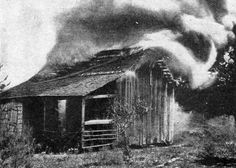Deliberate burning of an African American home  January 4th 1923 - Rosewood, Florida - The deliberate burning of cabins and a church wiped out the African American quarter of Rosewood as the inhabitants took to the woods. -The Literary Digest Magazine (Jan. 20, 1923)