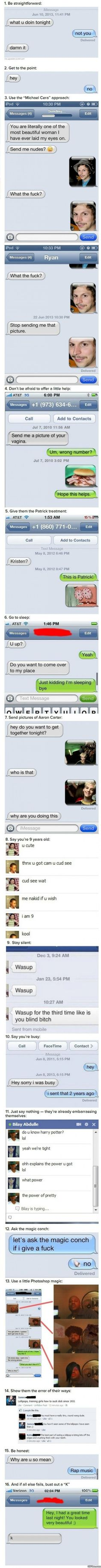 Funny texts - Ways to avoid talking to a huge creep - http://www.jokideo.com/