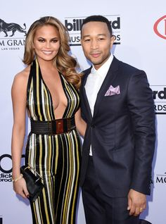 Pin for Later: Sexy Music Stars Show the Love at the Billboard Music Awards Chrissy Teigen and John Legend Cute Celebrity Couples, Celebrity Outfits, Cute Couples, Celebrity Kids, Taylor Swift And Calvin, Billboard Music Awards 2015, Chrissy Teigen John Legend, Expecting Twins, Star Show
