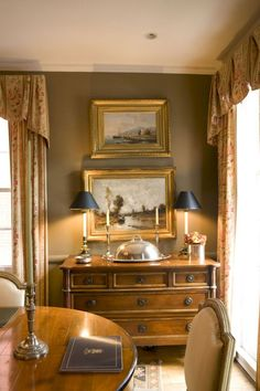 Vintage French Soul ~ Buffet lamps adds a nice soft glow, touch of symmetry and a bit of formality to dining off the kitchen. Country Dining Rooms, Furniture, French Country Dining Room Table, Interior, Home, Country Decor, House Interior, English Decor, French Country Dining Room