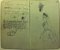 The page of the diary of a 12-year old Alix when she met Nikolay at the wedding day of her sister Ella. The poem and drawing of Ella were made by Alix