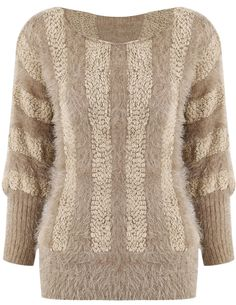 Khaki Batwing Long Sleeve Mohair Knit Sweater EUR€16.46