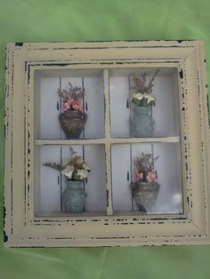 Shabby Chic Shadow Box Window with Roses