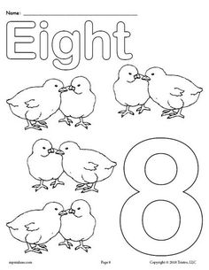 Free Printable Number Eight Coloring Page