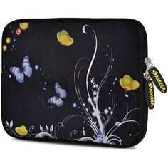Amzer 7.75-Inch Designer Neoprene Sleeve Case Cover Pouch for Tablet, eBook and Netbook - Yellow Night Butterfly, Blue