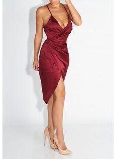 JLUXLABEL Burgandy Holly Satin Wrap Dress