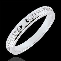 Anello Promesse di diamanti - oro bianco- versione sottile (Fedi nuziali) : gioielli edenly