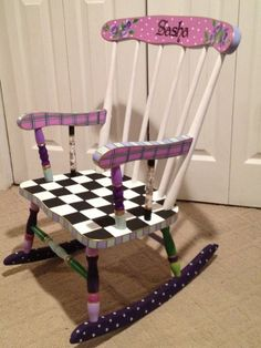 painted rocking chairs ideas | ... Custom Hand Painted Child's Rocking Chair Youth Chair Personalized