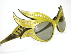 c6ec146b2f Vintage 50s Yellow French Cat Eye Sunglasses Frames Wild Eyewear