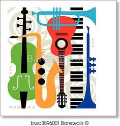 Art Print of Abstract vector music instruments