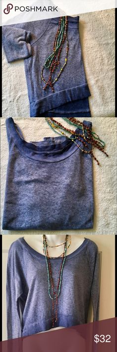 "We The Free Hazy Blue Crop Top, Size Xtra Small WE THE FREE Blue crop. Top, size XS 19"" bust, higher in front, 19"" front, 21"" in back.  Oversized, t-shirt like material.  100% cotton.  Sleeve length measured from underarm is 17"".  Hardly worn.  Will def fit regular small. Free People Tops Tees - Long Sleeve"