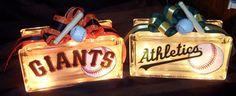 Baseball themed gift glass blocks. Great holiday gift idea.