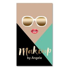 Makeup Artist Turquoise Black Beige Modern Double-Sided Standard Business Cards (Pack Of 100)