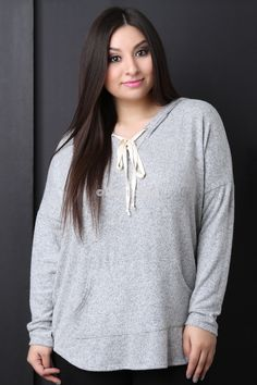 Hooded Marled Knit Pocket Sweater Top. This is definitely your king of fashion!   >#PlusSizeFashion #CurvestoAdore #PlusisSexy #IloveFashion #ShopPlusSizeFashion #costumejewelry #shoelover #handbags #lingerie #plussizelingerie #plussizeclothing #accessories