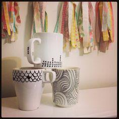 hand drawn mugs