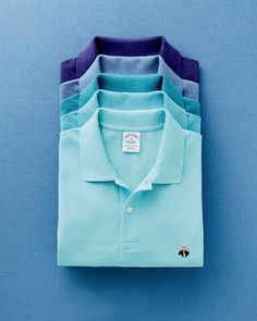Brooks Brothers shirts in succeeding hues.