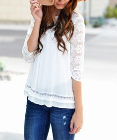 Loving this White Lace-Sleeve Tunic on #zulily! #zulilyfinds