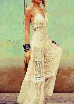 White Boho Lace Maxi Dress. #boho #chic #lace