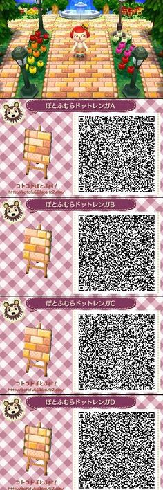 Animal Crossing New Leaf QR codes honey pathways. I don't play New Leaf, but I'll pin this just for fun. Animal Games, My Animal, Acnl Qr Code Sol, Acnl Pfade, Animal Crossing Qr Codes, Kawaii, Acnl Paths, Theme Nature, Motif Tropical